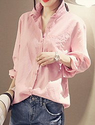 cheap -Women's Casual Cotton Shirt - Solid Colored Shirt Collar / Spring / Fall