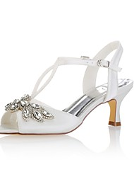 cheap -Women's Shoes Stretch Satin Summer Basic Pump Wedding Shoes Low Heel Peep Toe Crystal Buckle for Wedding Party & Evening Ivory