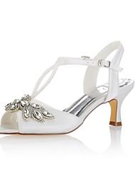 Недорогие -Жен. Обувь Стретч-сатин Лето Туфли лодочки Свадебная обувь На низком каблуке Открытый мыс Кристаллы Пряжки для Свадьба Для вечеринки /