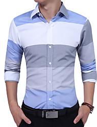 Недорогие -Муж. Офис Рубашка Хлопок На каждый день Однотонный / Воротник-стойка / Длинный рукав