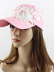 cheap -Women's Work Casual Cotton Sequined Sun Hat Baseball Cap - Solid Colored Floral / Botanical, Stylish Embroidery
