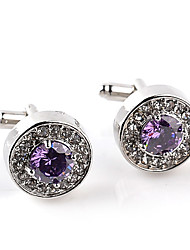 cheap -Circle White / Purple Cufflinks Imitation Diamond / Alloy Formal / Classic / Fashion Men's Costume Jewelry For Wedding / Party / Business