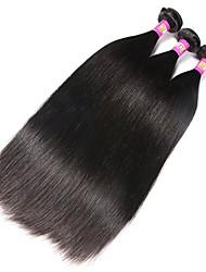 economico -Peruviano Liscio Capello vergine Ciocche a onde capelli veri 3 pacchetti Tessiture capelli umani Nero Naturale Estensioni dei capelli umani / Dritto