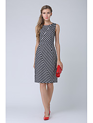cheap -SHE IN SUN Women's Going out Work Casual Street chic A Line Dress,Striped Floral Round Neck Midi Sleeveless Polyester Fall Mid Waist Inelastic Opaque