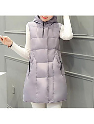 cheap -Women's Solid Pink / White / Black / Gray Padded Coat,Simple Hooded Sleeveless Down Vest