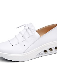 cheap -Women's Shoes Leather Spring Novelty Comfort Loafers & Slip-Ons Wedge Heel Round Toe Hollow-out for Wedding Casual White Black Silver