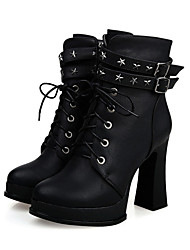 Недорогие -Жен. Обувь Полиуретан Зима Осень Удобная обувь Оригинальная обувь Модная обувь Ботинки Высокий каблук Заостренный носок Ботинки Заклепки