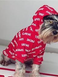 baratos -Cachorro Camisola com Capuz / Moletom Roupas para Cães Carta e Número Vermelho Algodão Ocasiões Especiais Para animais de estimação Casual / Mantenha Quente