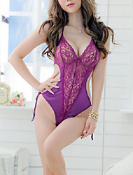 cheap -Women's Ultra Sexy Suits Nightwear,V-neck Thin Polyester Purple