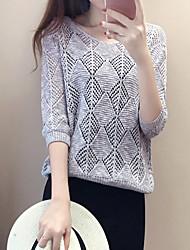 Недорогие -Жен. Простой Длинный рукав Пуловер - Однотонный / Весна
