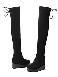 preiswerte -Damen Schuhe Samt Winter Komfort Stiefel Keilabsatz Runde Zehe Übers Knie Schwarz