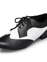 "cheap -Men's Latin Leather Sneaker Training Trim Low Heel Black/White Under 1"" Customizable"