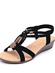 cheap -Women's Shoes Velvet Spring Summer Comfort Ankle Strap Sandals Wedge Heel Open Toe Beading for Casual Dress Black Beige