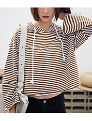 女性用 シンプル 日常 パーカー ストライプ フード付き 伸縮性なし ポリエステル 長袖 春