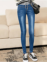 cheap -Women's Denim Legging - Solid Colored Solid Color Natural