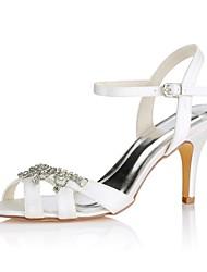 economico -Per donna Scarpe Raso elasticizzato Estate Decolleté scarpe da sposa A stiletto Occhio di pernice Cristalli Avorio / Matrimonio