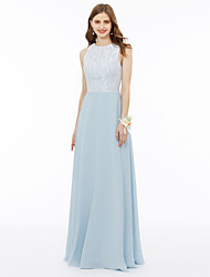 cheap -A-Line Princess Jewel Neck Floor Length Chiffon Metallic Lace Bridesmaid Dress with Appliques Draping Pocket Pleats by LAN TING BRIDE®