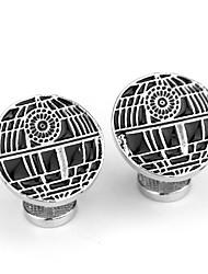 baratos -Formato Circular Prata Botões de Punho Liga Clássico / Roupas de Festa / Fashion Homens Jóias de fantasia Para Diário / Formal