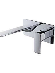 cheap -Contemporary Wall Mounted Ceramic Valve Single Handle Two Holes Chrome, Bathroom Sink Faucet