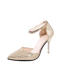 preiswerte -Damen Schuhe PU Herbst Komfort Pumps High Heels Stöckelabsatz Spitze Zehe für Kleid Büro & Karriere Gold Schwarz Silber
