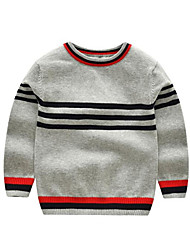 preiswerte -Jungen Pullover & Cardigan Gestreift Polyester Winter Herbst Langärmelige Rote Grau Gelb Königsblau
