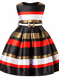 cheap -Girl's Daily Going out Striped Floral Color Block Dress, Cotton Spring, Fall, Winter, Summer All Seasons Sleeveless Cute Active Princess