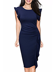 cheap -Women's Going out Sophisticated Cotton Sheath Dress - Solid Colored Ruffle / Spring