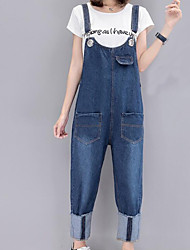 cheap -Women's Simple Overalls Pants - Solid Colored