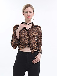cheap -Women's Daily Vintage Shirt,Leopard Shirt Collar Long Sleeve Cotton