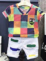 cheap -Boys' Daily Multi Color Clothing Set, Cotton Summer Half Sleeves White