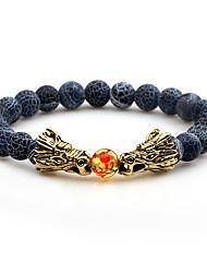 Недорогие -Муж. Оникс Вулканический камень Тигровый глазный камень Браслеты-цепочки и звенья Браслет цельное кольцо - Простой На каждый день Мода