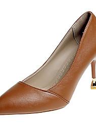 preiswerte -Schuhe PU Frühling Herbst Komfort High Heels Stöckelschuh Spitze Zehe für Normal Schwarz Braun Rosa