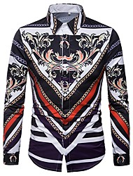cheap -Men's Daily Casual All Seasons Shirt Shirt Collar Long Sleeves Polyester