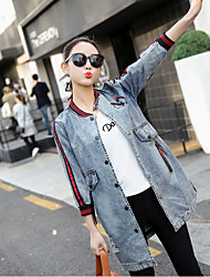 cheap -Women's Vintage Denim Jacket - Print