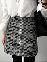 preiswerte -Damen Retro Alltag Mini Röcke A-Linie,Baumwolle Druck Winter Herbst
