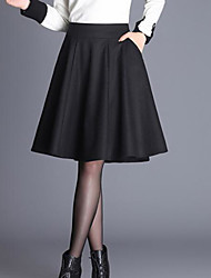 cheap -Women's Going out Knee-length Skirts,Vintage A Line Cotton Solid Winter Spring/Fall