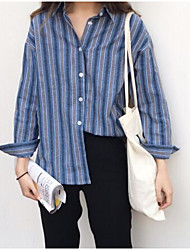 cheap -Women's Street chic Cotton Shirt - Striped Stand