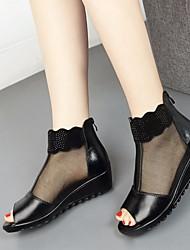 abordables -Mujer Zapatos Cuero Primavera Otoño Confort Sandalias Tacón Cuña Puntera abierta para Casual Negro