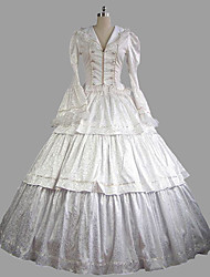 cheap -Rococo / Victorian Costume Women's Outfits White Vintage Cosplay Satin Long Sleeve Halloween Costumes