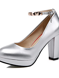 cheap -Women's Shoes PU(Polyurethane) Spring / Fall Comfort / Novelty Heels Chunky Heel Pointed Toe Rivet / Buckle Silver / Red / Pink / Wedding
