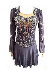 Недорогие -Платье для фигурного катания Для девочек Катание на коньках Платья Серый Эластичная Эластичность Профессиональный стиль Одежда для