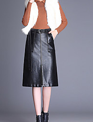 cheap -Women's Going out Midi Skirts,Vintage A Line PU Solid Spring