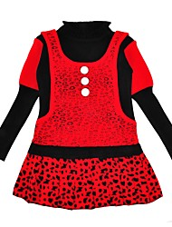 cheap -Girl's Daily Leopard Print Dress, Cotton Winter Long Sleeves Casual Chinoiserie Red