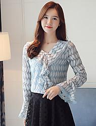 preiswerte -Damen Solide T-shirt, V-Ausschnitt Spitze Polyester