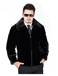 cheap -Men's Daily Casual Winter Fur Coat,Solid Shirt Collar Long Sleeve Regular Others Oversized
