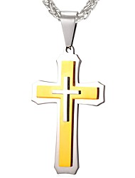 cheap -Men's Pendant Necklace - Stainless Steel Cross Classic Gold Necklace One-piece Suit For Gift, Daily