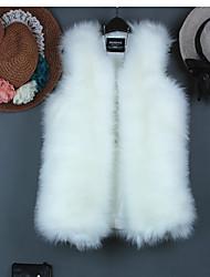 baratos -Mulheres Padrão Jaqueta Casual Simples Inverno, Sólido Pêlo de Raposa Assimétrico
