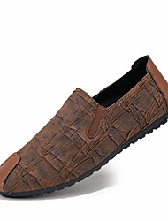 cheap -Men's Shoes PU Leatherette Spring Comfort Loafers & Slip-Ons for Casual Outdoor Light Brown Black