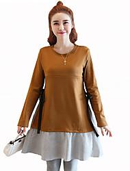 economico -Per donna Cotone Linea A Vestito Monocolore Collage Sopra il ginocchio