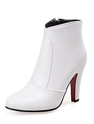 baratos -Mulheres Sapatos Courino Inverno Botas da Moda Botas Salto Robusto Dedo Apontado Botas Curtas / Ankle para Social Branco Preto Vermelho